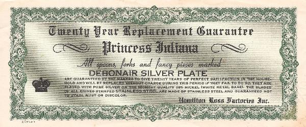 Warranty Sheet for Debonair Silver Plate