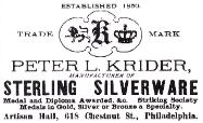 1884 Peter L. Krider Advertisement